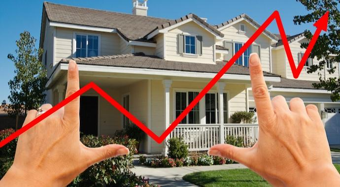 development on the real estate market shown with an arrow and a house
